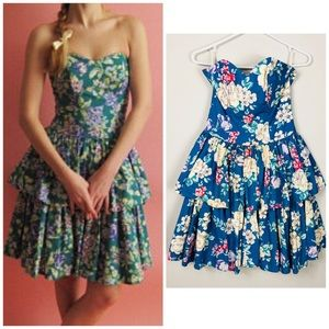 Vintage Laura Ashley Tiered Strapless Floral Dress